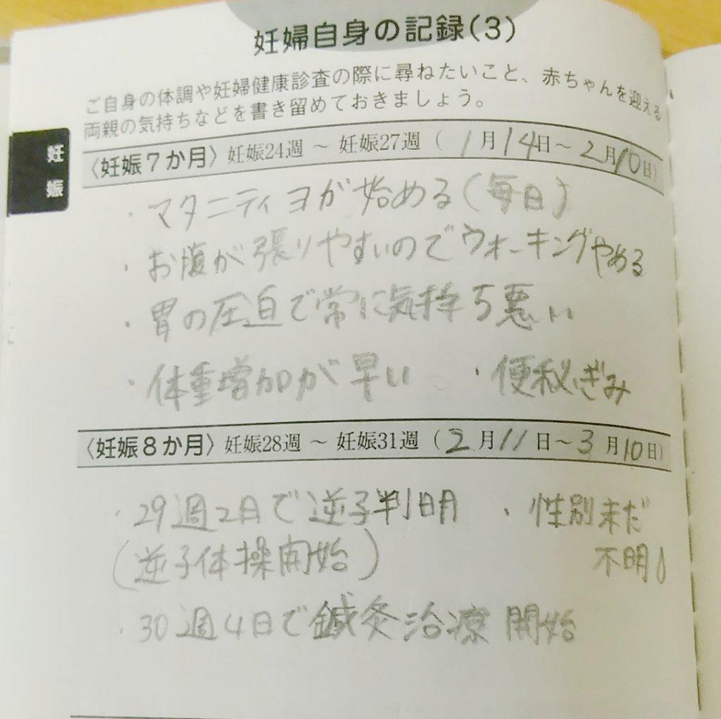 母子手帳の記録